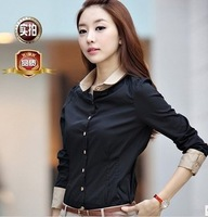 2013 spring new large size ladies bottoming shirt female long-sleeved blouses blouse female Korean version of the influx of T-sh