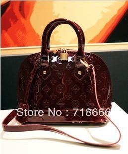 2013 new tide handbags pepper black patent leather embossed handbag shoulder bag