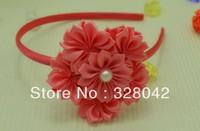 Trail orderFree Shipping girl Luxurious fashion Satin flower  Hairbands mini pink ribbon flower  hair accessory