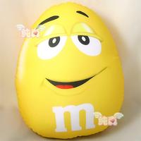 M&M's Chocolate Microbead Cushion yellow bean Pillow Lovely Cute M&M Eggshell Cushion Free Shipping!