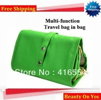 2013 Free Shipping New Traveling Bag in Bag , Mesh pouch Nylon Organizer Bags makeup bag