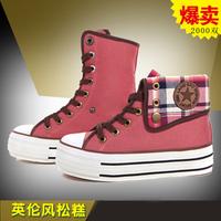 women's shoes canvas shoes female high platform shoes lacing cloth shoes