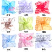 Wholesale Lots Sale Chiffon Silk 50cm Small Square Scarf Pure Solid Candy Color Spring Autumn Shawl Headband Handbag Decor