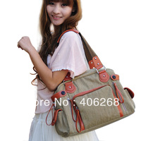 free shipping 2013 new casual  canvas bag  fashion strap decoration ladies' shoulder bag  sling bag