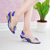 Free  shipping 2013 flower open toe wedges slippers women's ay001