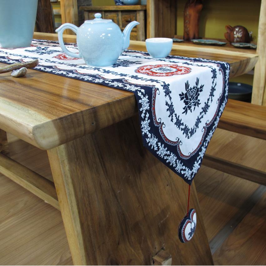 Blanc bleu style chinois nappe de table en tissu de coton - Nappe de table rectangulaire grande taille ...