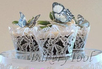free shipping 48 pcs/lot White Butterfly Laser Cut cupcake wrapper Pearl Paper cupcake liner for wedding