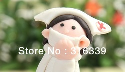Free shipping!New arrival! nurse style soft pottery clay ballpoint pen ball pen for school and office supplies,so cute!50pcs/lot(China (Mainland))
