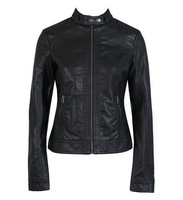 Free Shipping Pimkie washed PU leather motorcycle jacket Slim female short paragraph leather large size
