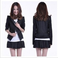 2013 winter autumn and 2014 spring new women's  slim waist ruffle slim elegant long-sleeve short design black blazer few dhlFREE