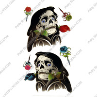 Most Fashionable Temporary  waterproof tattoo stickers skeleton big male rose tattoo stickers hm153
