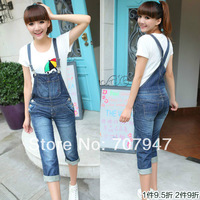 Free shipping 2014 spring casual denim overall shorts women jeans shorts loose plus size 84 jumpsuit denim shorts