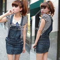 Free shipping Teal denim braces skirt jeans skirt women 2014 spring and summer cute short skirt slim denim skirt