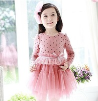 2013 new children's wear skirts and Korean Princess Girls spring round little gauze dressWholesale and retail