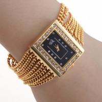 Women's watch luxury diamond fashion square quartz ladies watch bracelet watch gold