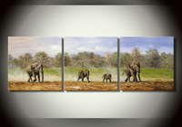 The elephant herds painting, 100% handmade oil painting, high quality canvas oil painting, abstract art wall decoration pictures