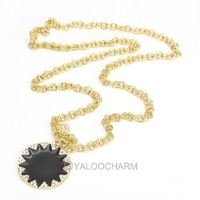FREE SHIPPING!  HOT!! Golden Crystal Sunflower Pendants Long Chain Sweater Necklace 60143
