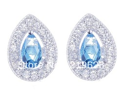 Lovely and High Quality Genuine Solid 925 Sterling Silver Blue Topaz CZ Diamonds Stud Earrings(China (Mainland))