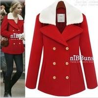 Autumn and winter fashion detachable fur collar slim wool coat outerwear wool female