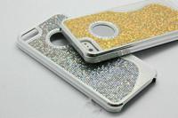 12 Pcs Bling Diamond Glitter Star Shiny S  Line Shape Hybrid Case Cover For iPhone 5 5G Ring Hole Plastic Chrome +Free Shipping