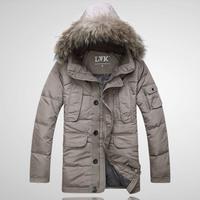 Lvk winter Hot! luxury large fur collar male high quality medium-long down coat male