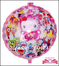 free shipping 19inch ball in ball balloon of KT cat,animal shape foil balloon.  size 50x50cm