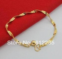 New Arrival Fashion 24K GP Gold Plated Mens Jewelry Bracelet Yellow Gold Golden Bracelet Bangle Free Shipping YHDH24