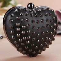 Fashion new arrival 2013 punk day clutch heart shaped rivet cross-body evening bag peach heart bag