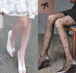 15$ Mini Order Free Shipping Bow pattern jacquard pantyhose stockings black sexy pantyhose