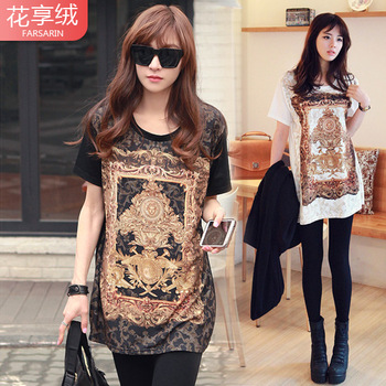 Free Shipping 2013 spring the trend of women baroque vintage patchwork print short-sleeve T-shirt basic shirt