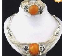 New Fashion Jewelry Beautifu Rare Tribal Jewelry Tibet Silver amber Necklace bracelet set free shipping