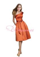 Modern Orange Bridesmaid Dress One Shoulder Sash A Line Silhouette Orange Bridesmaid Dress