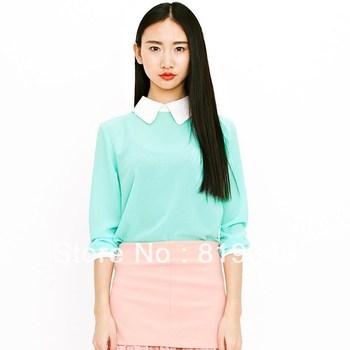 VANCL Lauryn Double-Collar Blouse Aqua-Beige Long Sleeve Shirt Turn-down Collar Blouse Chiffon T-shirt Free Shipping