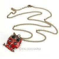 Free Shipping  hot sale!!!  4pcs Fashion Red Enamel Gem Owl Necklace Owl Pendant Necklaces have stock 60165