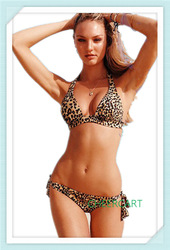 Freeshipping 2013 New Sexy Leopard Print String Swimwear Halter Scrunch Butt Bikini Set S M L MOQ 1Set(China (Mainland))