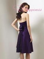 New Arrivals Eggplant Bridesmaid Dresses Halter Knee length Sash Satin A-line eggplant bridesmaid dresses