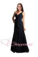Beautiful Dark Navy Bridesmaid Dress Long One shoulder Chiffon navy bridesmaid dress