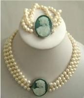 Hot Fashion Jewelry Beautiful 3Strand 7-8mm White Akoya Pearl Cameo Necklace Bracelet set free shipping