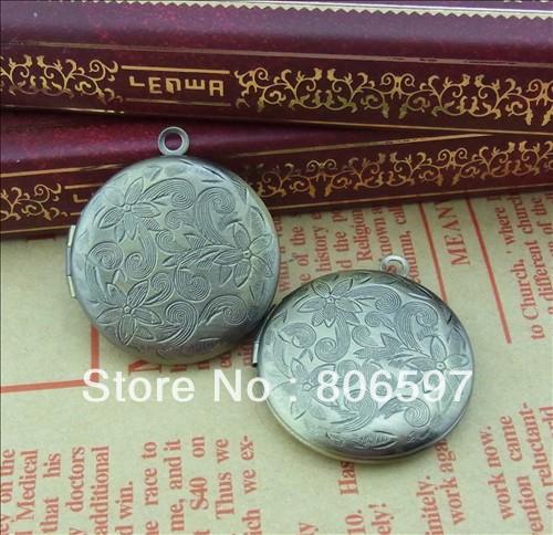 Free shipping(12pieces/lot) brass bronze plated European vintage style round shaped prayer box photo locket pendant jewelry I2A(China (Mainland))