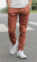 2013 Stylish Men Casual men&#39;s feet Zipper Pocket  Trouser Haren sports pants 3color  M/L/XL/XXL E1702-K135