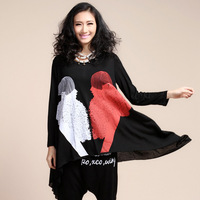 2013 mm women's t-shirt spring plus size top loose long design irregular batwing shirt
