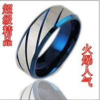 Top blue slanting stripe titanium male ring accessories