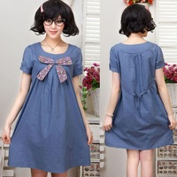2014 summer maternity dress faux denim maternity cotton one-piece dress maternity clothes for pregnant women 9507