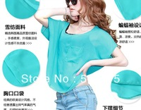 2013 spring female fashion transparent loose top slim chiffon shirt plus size short-sleeve T-shirt