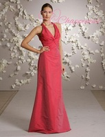 Free Shipping Hot Selling Halter Full Length A-Line Bridesmaid Dress summer dresses