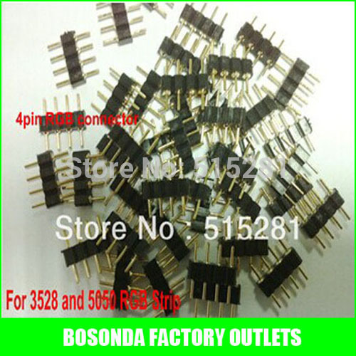 4pin RGB connector 4 pin needle male type double 4pin small part for LED RGB 3528