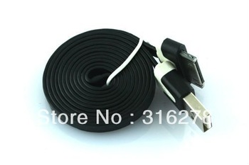 Black 1m Flat Type Extension USB Data Sync Cable Cord For iphone ipod SPA-0237-Black