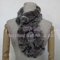 BG6026 10 COLORS Genuine Knitting Rex Rabbit Fur Scarves With Flowers Girls Cute Collar OEM Wholesale/Retail
