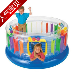 American INTEX48261 transparent children's inflatable toy jumping trampoline jumping bed playground castle(China (Mainland))