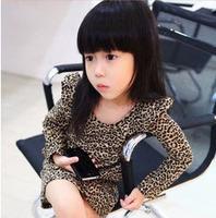 5pcs/lot baby girls fashion leopard dress long sleeve cotton dresses children 2013 spring clothing ZZ0028